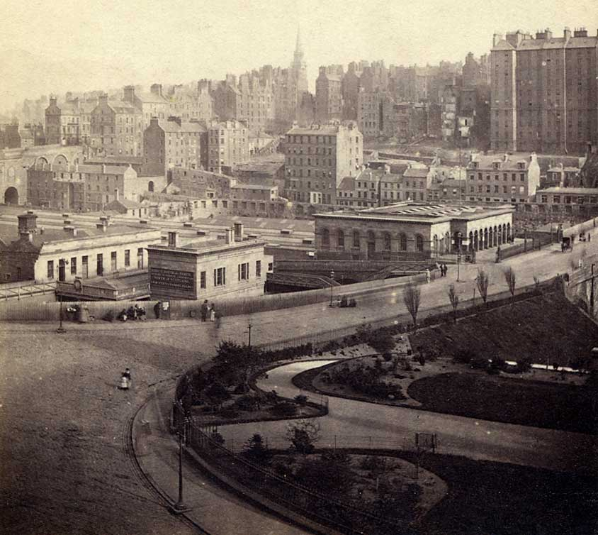 Enlargement of GW Wilson stereo card - Waverley Bridge and Old Town from Princes Street