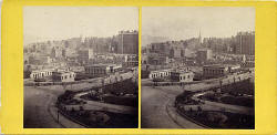 GW Wilson stereo card - Waverley Bridge and Old Town from Princes Street