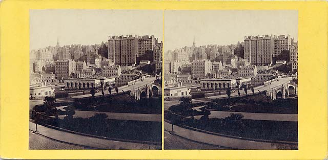 GW Wilson stereo card - Waverley Bridge and Old Town from Princes Street, showing the arches of Waverley Bridge