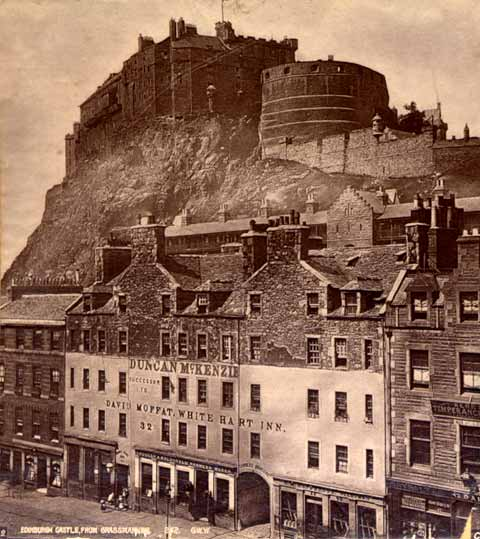 Enlargement of Stereoscopic View by George Washington Wilson - Edinburgh Castle from the Grassmarket