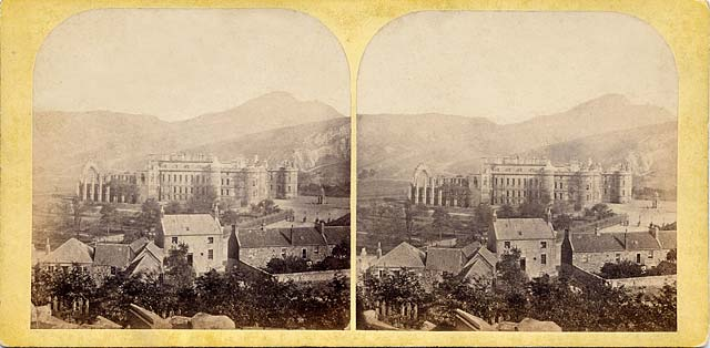 A stereo view by an unidentified photographer  -  Holyrood Abbey and Palace
