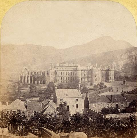 Enlargement of a stereo view by an unidentified photographer  -  Holyrood Abbey and Palace