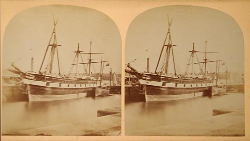 Stereo View titled 'Leith Docks re-masting - 1865'  -  Photographer unidentified