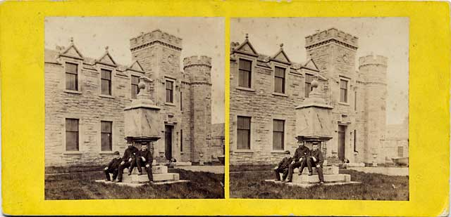 A stereo view by an unidentified photographer  -  Sundial at Portobello Castle