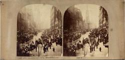 Stereo View by an unidentified publisher  -  Royal Mile Procession, 1858