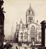 Enlargement of a  stereo view by an unidentified photographer   -  St Giles' Cathedral in the Royal Mile, Edinburgh