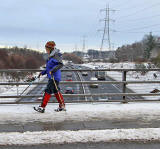 Edinburgh Bypass  -  View from Torphin Road + Skier  -  December 2009