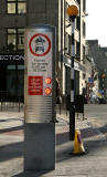 Road sign introduced into Edinburgh New Town in 2005 as part of the Central Edinburgh Traffic Management Scheme  -  Frederick Street looking south at the junction with George Street