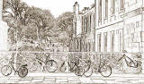 George IV Bridge -cycles attached to the railings over Merchant Street