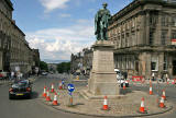 Cones around the statue at the junction of George Street and Hanover Street