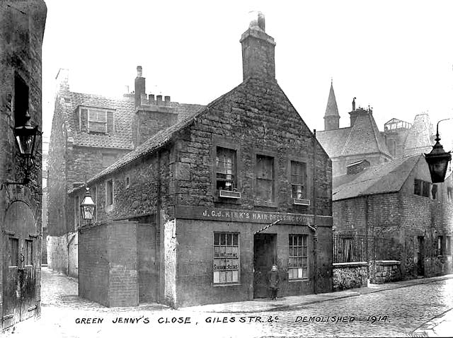 JCJ Kirk's Hairdressing Rooms, Green Jenny's Close, Giles Street, Leith  -  Demolished 1914