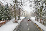View form the top deck of a No 23 bus travelling to the west along Glenlockhart Road beside the Merchants of Edinburgh Golf Course, towards the Craighouse Campus of Napier University  -  Christmas Eve, 2009
