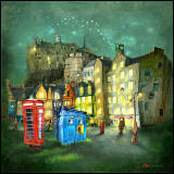 Painting 'Weird Night' by Matylda Konecka  -  Edinburgh Castle and Grassmarket from East End of Grassmarket