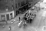 View from 81 George Street - Spahis leaving to perform in the Edinburgh Military Tattoo, 1959