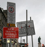 Road signs introduced into Edinburgh New Town in 2005 as part of the Central Edinburgh Traffic Management Scheme  -  Hanover Street, looking north approaching the junctions with Rose Street then George Street the junction with George Street