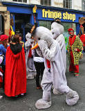 Fringe Performers dressed as Snowmen in the High Street  -  August 2013