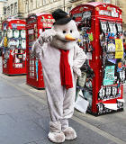 Fringe Performer dressed as Snowman in the High Street  -  August 2013