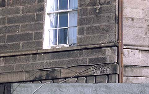 Old street names on buildings in Leith  -  Jamaica Street, Leith