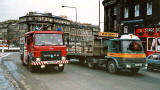 Fire engine leaving London Road Roundabout in Leith Walk and heading south, close to the top of the Walk  -  February 1986
