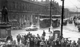 A crowd gathers at the foot of Leith Walk in May 1955.  Who is in the crowd?  Who was the speaker?  There is an interesting mix of traffic in the background.