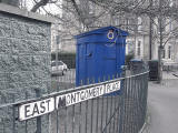 Police Box on the corner of Montgomery Street and East Montgomery Place