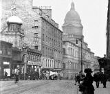 Looking to the north down Nicloson Street towards South Bridge and the dome of Edinburgh University Old College