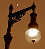 Zoom-in to one of the Lamp Posts on George IV Bridge with Moon in the Backgroun - 2011