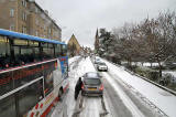 View from the top deck of a No 19 bus  -  Orchard Brae, following a snow storm  -  December 2009