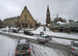 View from the top deck of a No 19 bus  -  Queensferry Road at the top of Orchard Brae, following a snow storm  -  December 2009