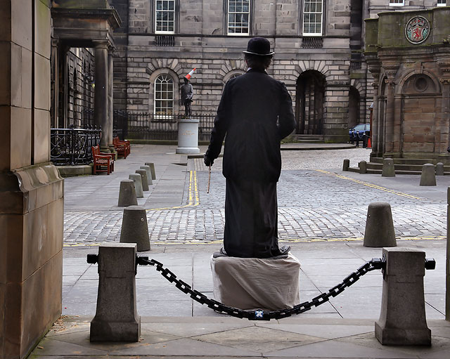 Charlie Chaplin, on his plinth in the Royal Mile, outside the City Chambers