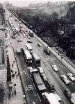 Traffic in Princes Street  -  View from on high at the West End  -  Possibly photographed around the 1960s