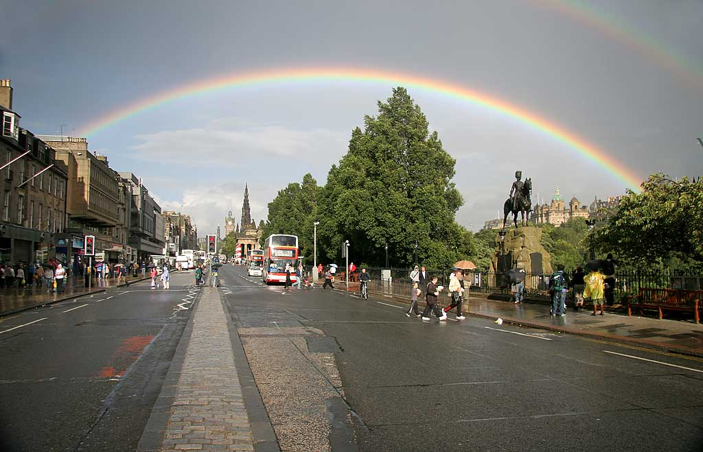 View to the East along Princes Street with rainbow