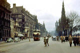 Looking to the east along Princes Street towards the Scott Monument and North British Hotel  -  1950s