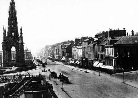 Princes Street  -  Looking West from Waverley  -  1850s