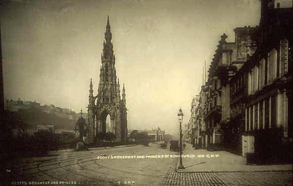 Princes Street looking to the west, by George Washington Wilson.  His photographic van is in the foreground of this picture.