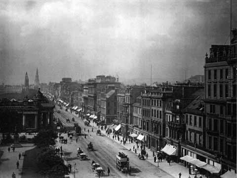 Princes Street from the Scott Monument  -  looking West  -  c.1880  -  possibly by Tunny