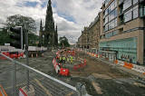 Preparing for Edinburgh's Trams  -  View of the Scott Monument and Princes Street from the junction with Waverley Bridge  -  July 2009