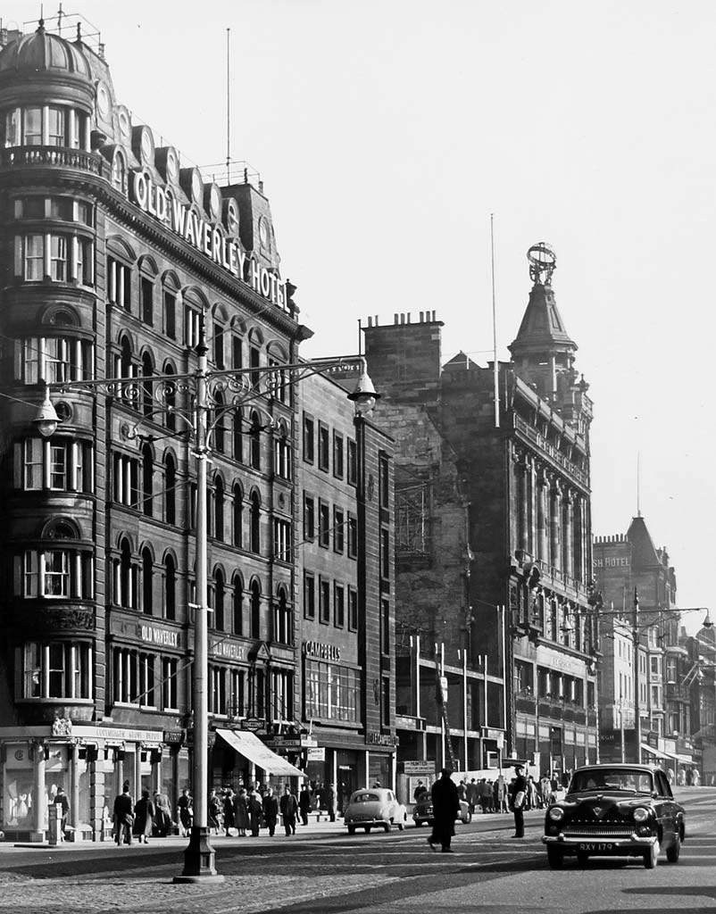 Princes Street Lamp Posts In Late 1950s Old Waverley Hotel And Shops