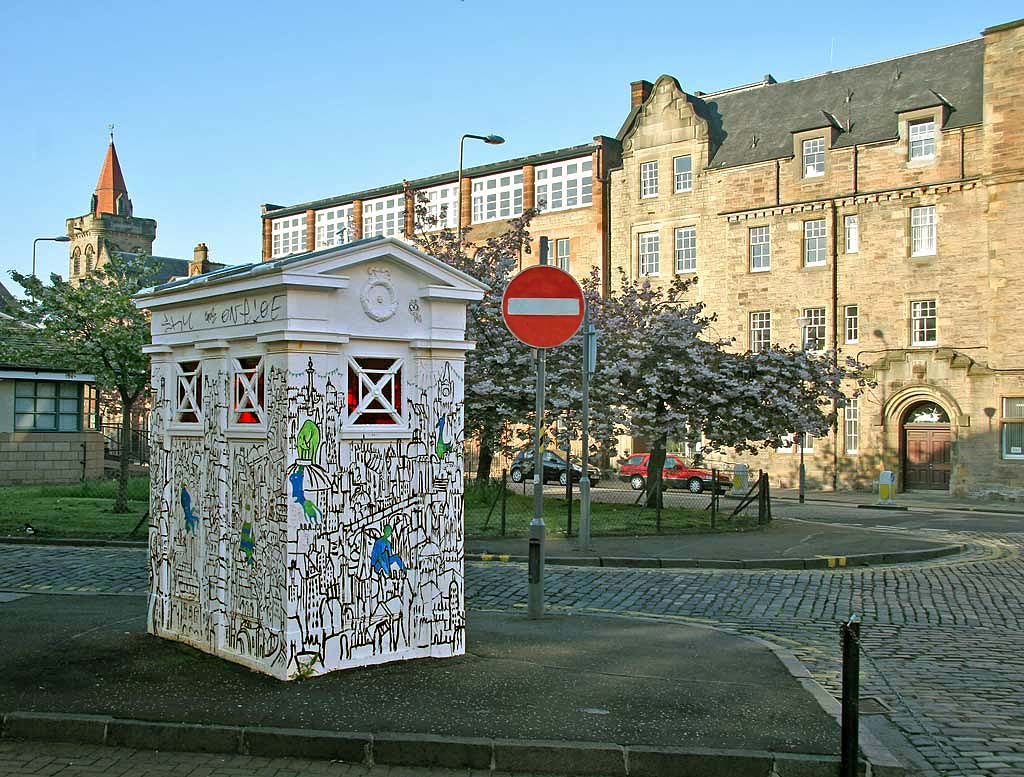 A decorated Police Box on the corner of Richmond Lane and Gilmour Street in Edinburgh Old Town  -  May 2008