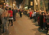 Queue for Harry Potter book  -  Waterston's Bookshop at the West End of Princes Street  -  The end of the queue in Rose Street