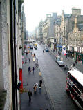View from a 4th floor room in the High Street almost opposite John Knox House, looking west up the Royal Mile towards Edinburgh Castle