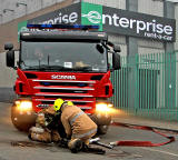 One of the fire engines attending a fire in Salamander Street, Leith  -  9.15pm on July 5, 2012