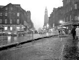 Looking to the east along Shandwick Place, towards the West End of Princes Streeet, as the tram lines were being lifted in 1955