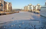 Photo from Bernard Street Bridge, Leith  -  Water of Leith frozen  -  Christmas Eve 2010