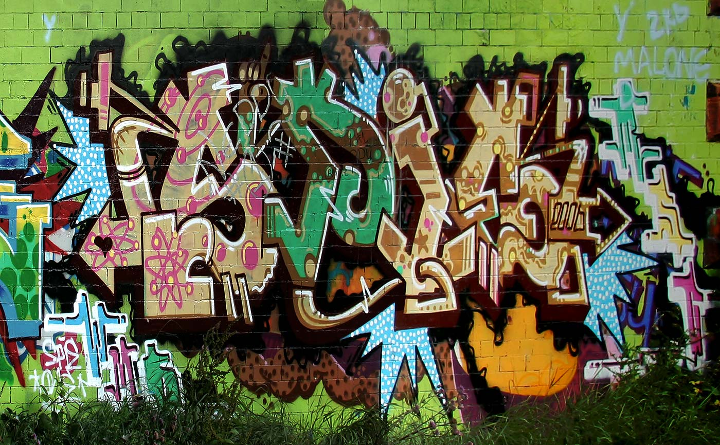 Graffiti on the  Bridge taking Blackhall Cycle Path under Telford Road  - July 2006