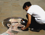 Picture drawn  in chalk by Oscarn Ibanet  on the pavement outside Register House at the East End of Princes Street  -  Andy Murray, drawn on the day after he won the Wimbledon Championship, July 2013