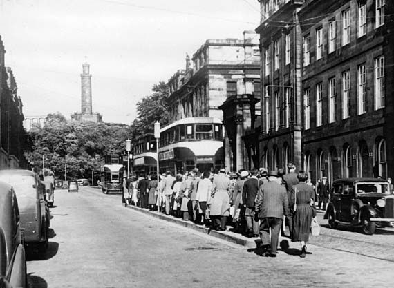 Waterloo Place  -   Three Trams and a Queue