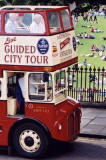 Edinburgh Tourist Bus on Waverley Bridge  -  zoom-in  -  April 2003