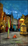 Painting 'Silent Street' by Matylda Konecka  -  West Bow and Victoria Street from East End of Grassmarket