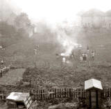 Bonfire on the land behind Wester Drylaw Place  -  November 5, 1961